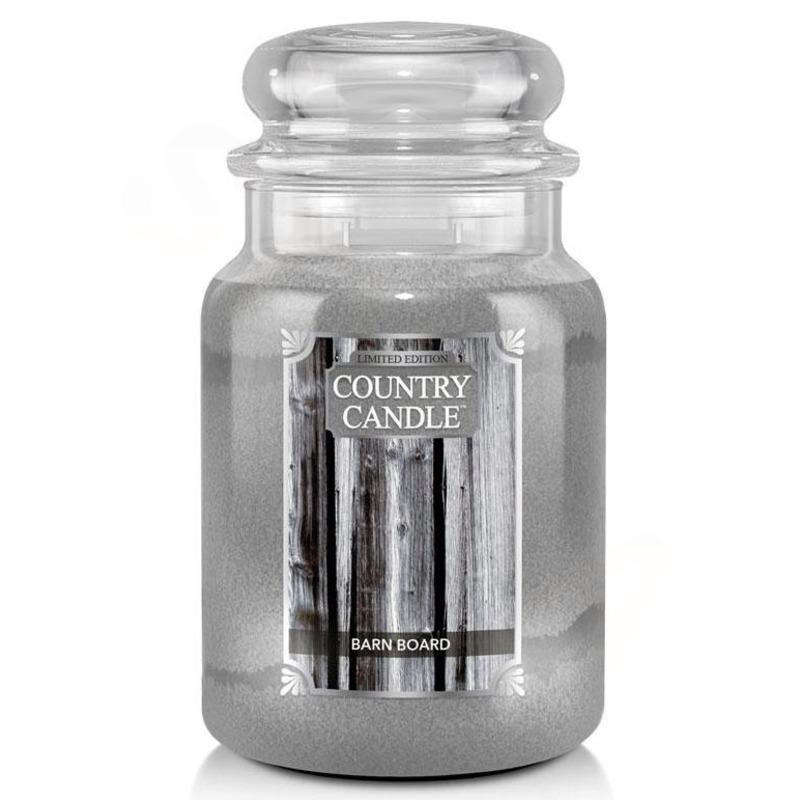 Country Candle Veľká vonná sviečka v skle Barn Board 652g