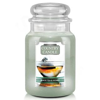 Country Candle Veľká vonná sviečka v skle Black Tea and Honey 652g
