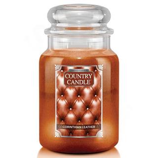 Country Candle Veľká vonná sviečka v skle Corinthian Leather 652g