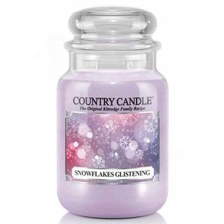 Country Candle Veľká vonná sviečka v skle Snowflakes Glistening 652g
