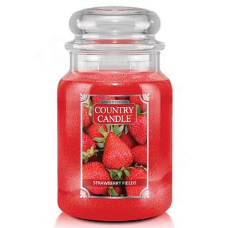 Country Candle Veľká vonná sviečka v skle Strawberry Fields 652g