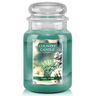 Country Candle Veľká vonná sviečka v skle Tinsel Thyme 652g