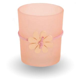 Sklenený svietnik na votívny sviečku - ružový