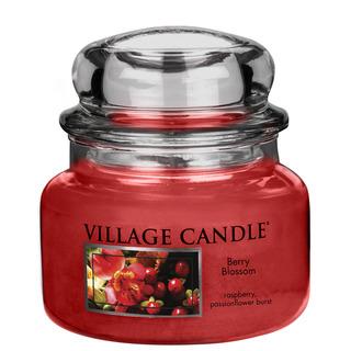 Village Candle Malá vonná sviečka v skle Berry Blossom 262g - Červené kvety