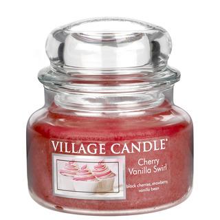 Village Candle Malá vonná sviečka v skle Cherry Vanilla Swirl 262g - Višňa a vanilka