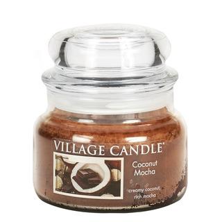 Village Candle Malá vonná sviečka v skle Coconut Mocha 262g - Kokosové moka
