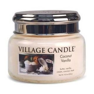 Village Candle Malá vonná sviečka v skle Coconut Vanilla 262g - Kokos a vanilka