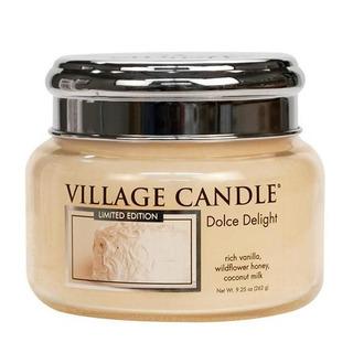 Village Candle Malá vonná sviečka v skle Dolce Delight 262g - Zamatové potešenie