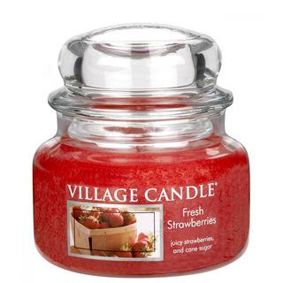 Village Candle Malá vonná sviečka v skle Fresh Strawberries 262g - Čerstvé jahody