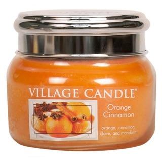 Village Candle Malá vonná sviečka v skle Orange Cinnamon 262g - Pomaranč a škorica