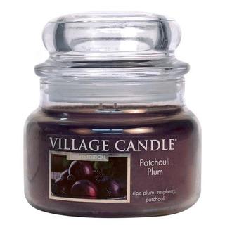 Village Candle Malá vonná sviečka v skle Patchouli Plum 262g - Švestka a pačuli