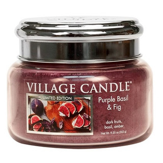 Village Candle Malá vonná sviečka v skle Purple Basil and Fig 262g - Fialová bazalka a figa