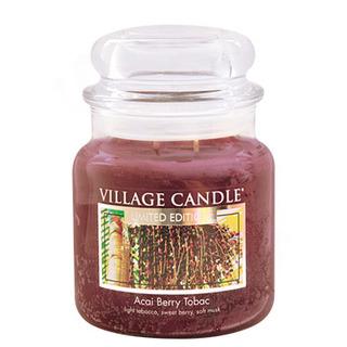 Village Candle Stredná vonná sviečka v skle Acai Berry tobaco 397g - Tabak a plody akai