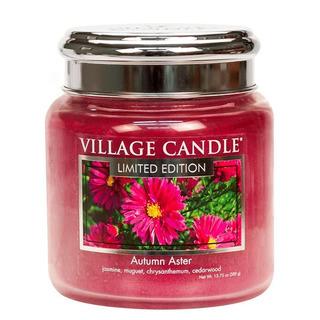 Village Candle Stredná vonná sviečka v skle Autumn Aster 397g - Jesenná astra