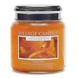 Village Candle Stredná vonná sviečka v skle Citrus Twist 397g - Citrusové osvieženie