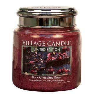Village Candle Stredná vonná sviečka v skle Dark Chocolate Rose 397g - Čokoládová ruže