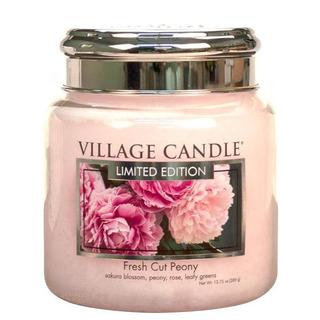 Village Candle Stredná vonná sviečka v skle Fresh Cut Peony 397g - Pivonky