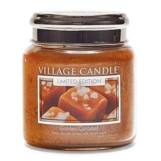 Village Candle Stredná vonná sviečka v skle Golden Caramel 397g - Zlatý karamel