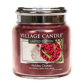 Village Candle Stredná vonná sviečka v skle Holiday Chutney 397g - Sviatočné čatní