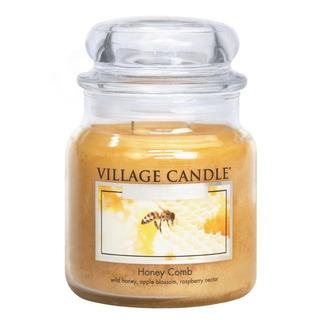 Village Candle Stredná vonná sviečka v skle Honey Comb 397g - Medový sen