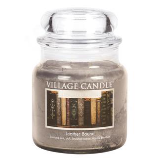 Village Candle Stredná vonná sviečka v skle Leather Bound 397g - Nádych minulosti