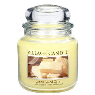 Village Candle Stredná vonná sviečka v skle Lemon Pound Cake 397g - Citrónový koláč