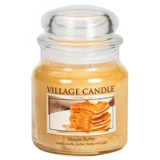 Village Candle Stredná vonná sviečka v skle Maple Butter 397g - Javorový sirup
