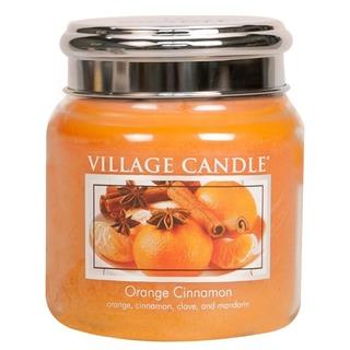 Village Candle Stredná vonná sviečka v skle Orange Cinnamon 397g - Pomaranč a škorica