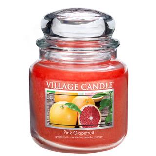 Village Candle Stredná vonná sviečka v skle Pink Grapefruit 397g - Ružový grapefruit