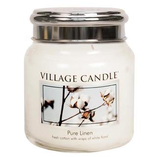 Village Candle Stredná vonná sviečka v skle Pure Linen 397g - Čisté bielizeň