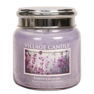 Village Candle Stredná vonná sviečka v skle Rosemary Lavender 397g - Rozmarín a levandule