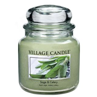 Village Candle Stredná vonná sviečka v skle Sage Celery 397g - Svieža šalvia