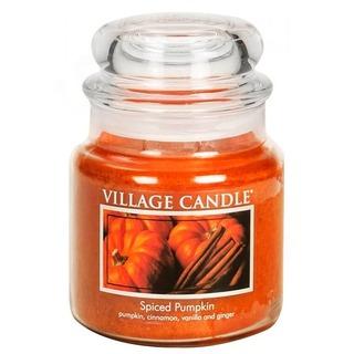 Village Candle Stredná vonná sviečka v skle Spiced Pumpkin 397g - Tekvica a korenie