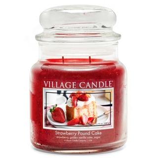 Village Candle Stredná vonná sviečka v skle Strawberry Pound Cake 397g - Jahodový koláč