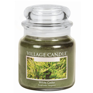 Village Candle Stredná vonná sviečka v skle White Cedar 397g - cédrové drevo