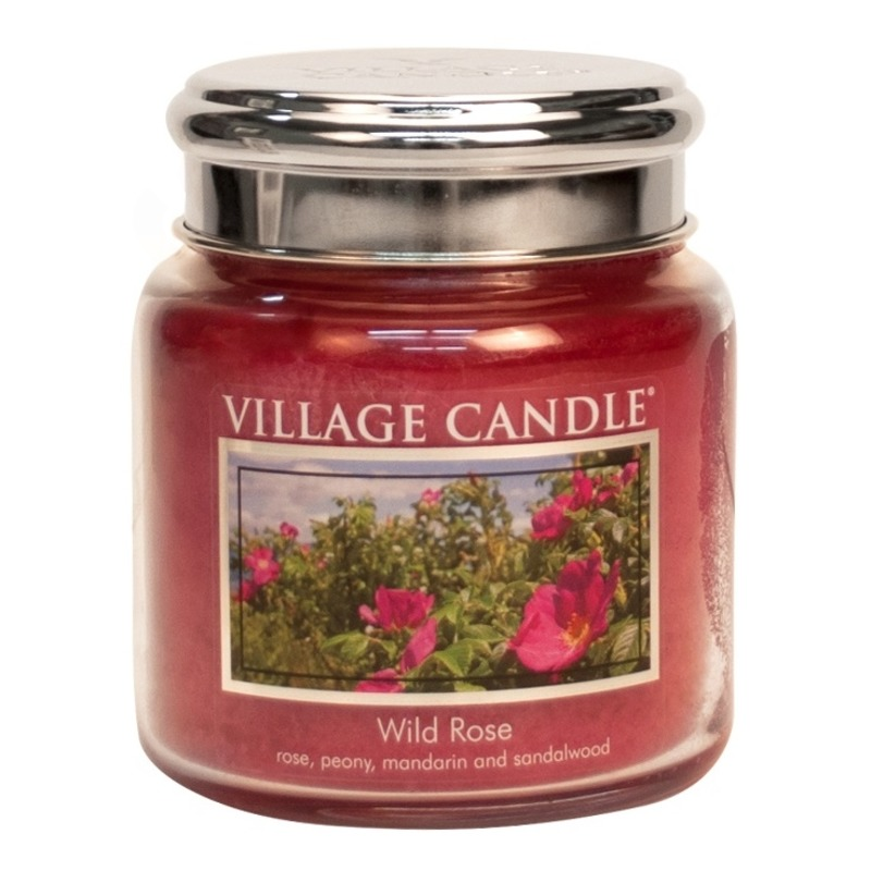 Village Candle Stredná vonná sviečka v skle Wild Rose 397g - Divoká ruža