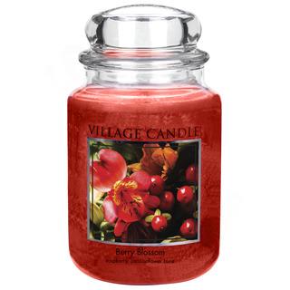Village Candle Veľká vonná sviečka v skle Berry Blossom 645g - Červené kvety
