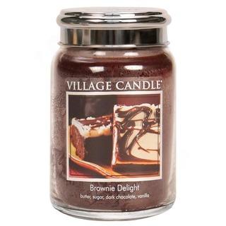 Village Candle Veľká vonná sviečka v skle Brownie Delight 645g - Čokoládový torta