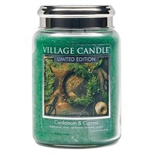 Village Candle Veľká vonná sviečka v skle Cardamom and Cypress 645g - Kardamon a cyprus