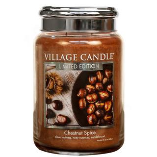 Village Candle Veľká vonná sviečka v skle Chestnut Spice 645g - Pečené gaštany