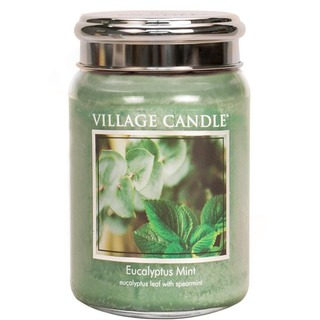 Village Candle Veľká vonná sviečka v skle Eucalyptus Mint 645g - Eukalyptus a mäta
