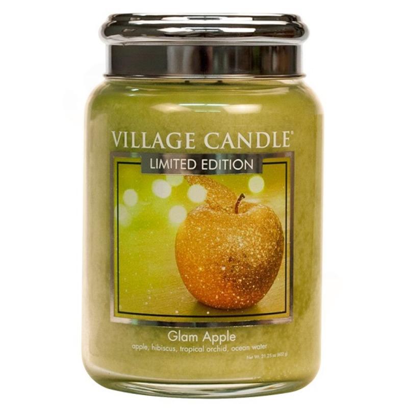 Village Candle Veľká vonná sviečka v skle Glam Apple 645g - Šťavnaté jablko