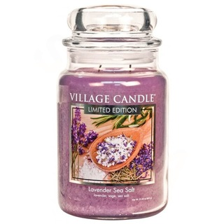 Village Candle Veľká vonná sviečka v skle Lavender Sea Salt 645g - Levanduľa s morskou soľou