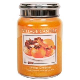 Village Candle Veľká vonná sviečka v skle Orange Cinnamon 645g - Pomaranč a škorica