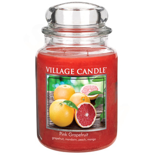 Village Candle Veľká vonná sviečka v skle Pink Grapefruit 645g - Ružový grapefruit