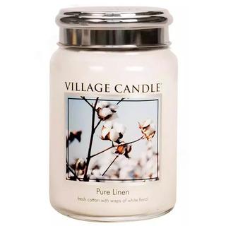 Village Candle Veľká vonná sviečka v skle Pure Linen 645g - Čisté bielizeň