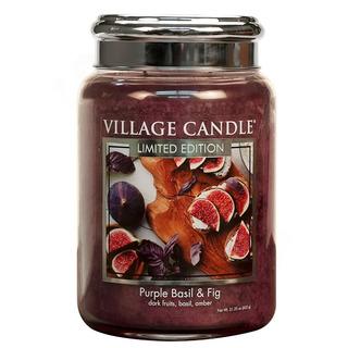 Veľká vonná sviečka v skle Purple Basil and Fig 645g - Fialová bazalka a figa