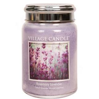 Village Candle Veľká vonná sviečka v skle Rosemary Lavender 645g - Rozmarín a levandule