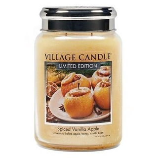 Village Candle Veľká vonná sviečka v skle Spiced Vanilla Apple 645g - Pečené vanilkové jablko