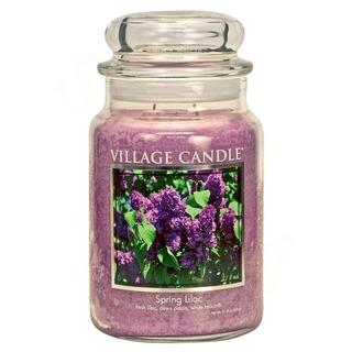 Village Candle Veľká vonná sviečka v skle Fresh Lilac 645g - Jarná orgován